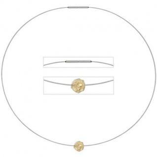 Collier Kette mit Anhänger Edelstahl mit 585 Gold kombiniert matt 42 cm