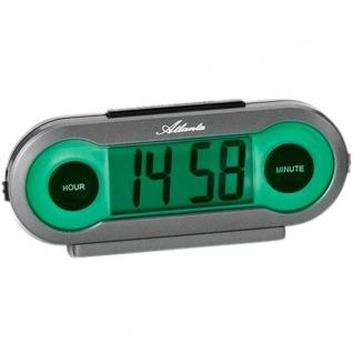 Atlanta 1685 Wecker Quarz digital grau mit grünem Licht Snooze
