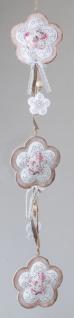 formano Deko-Girlande Blume in Creme mit rosa Rand, 70 cm