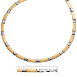 Collier Halskette Edelstahl gold farben beschichtet bicolor 47 cm
