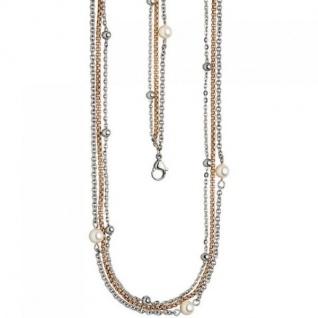 Collier Halskette 3-reihig Edelstahl rotgold farben mit 3 SWAROVSKI®