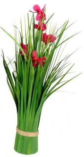 Künstliche blühende Cosmea-Blume als Bund grün rot 42 cm