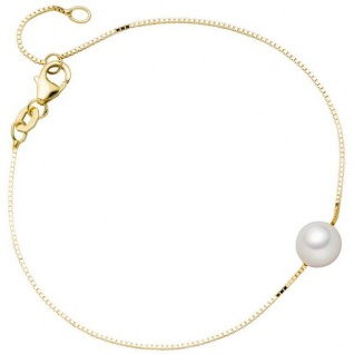 Armband 375 Gold Gelbgold 1 Akoya Perle 20 cm Goldarmband