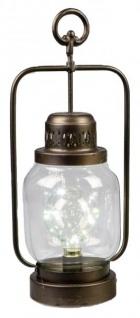 Trendige Laterne im nordischen Stil mit LED Beleuchtung 17x12x40 cm