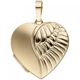 Medaillon Herz für 2 Fotos 333 Gold Gelbgold matt Anhänger zum Öffnen