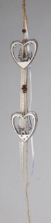 formano Dekohänger 2 Herzen aus Holz und Stoff in Grau Weiß, 50 cm