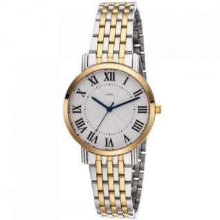 JOBO Damen Armbanduhr Quarz Analog aus Edelstahl bicolor vergoldet 20, 5 cm