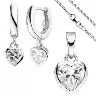 Kinder Schmuck-Set Herz 925 Silber mit Zirkonia Anhänger Ohrringe Kette 38 cm