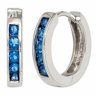 Creolen 925 Sterling Silber rhodiniert 10 Zirkonia blau Ohrringe