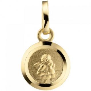 Anhänger Engel Schutzengel 333 Gold teil matt Schutzangelanhänger