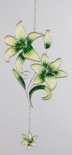 Fensterdeko Hängedeko Lilie aus Tiffany Glas und Metall, grün, 34 cm