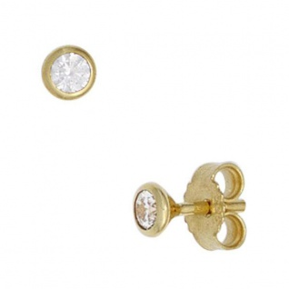 Ohrstecker rund 333 Gold Gelbgold 2 Zirkonia Ohrringe 3, 4 mm