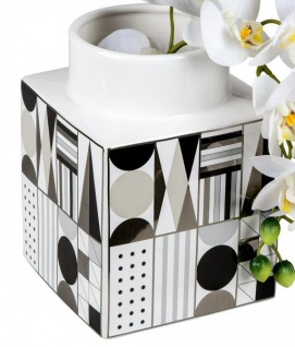 Keramik-Vase schwarz weiß gemustert Blumenvase Retro 15 x 20 cm
