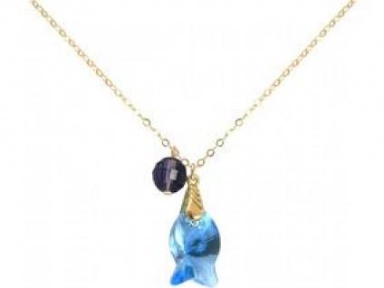 Halskette Anhänger Vergoldet Fisch Blau WITH SWAROVSKI ELEMENTS®