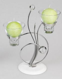 Metall Teelichthalter Kreis, Spirit in Weiß, zweiflammig, 28 cm