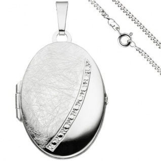Medaillon oval Anhänger zum Öffnen für 2 Fotos 925 Silber Kette 60 cm