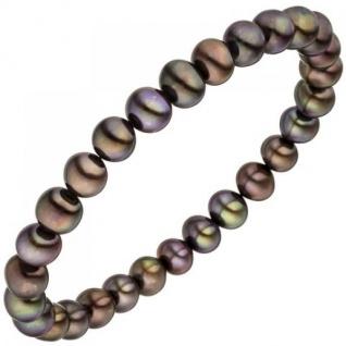 Armband mit Süßwasser Perlen dunkel 19 cm elastisch