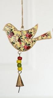 GILDE Hängedeko Vogel aus Metall, bunt, 14 x 22 cm