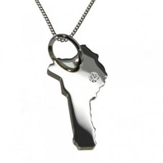 BENIN Anhänger aus 925 Silber mit Brillant am Wunschort mit Halskette