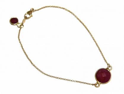 Damen Armband Vergoldet Rubin rot Facettiert 17 cm