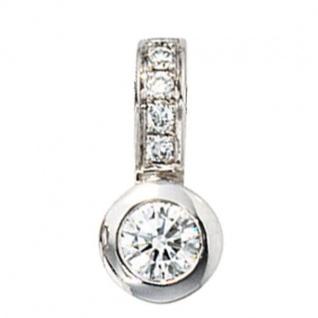 Anhänger 585 Gold Weißgold 6 Diamanten Brillanten 0, 20 ct.