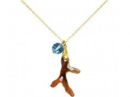 Halskette Anhänger Vergoldet Koralle Blau WITH SWAROVSKI ELEMENTS
