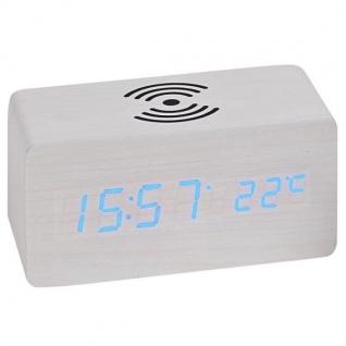 Atlanta 1129/0 Tischwecker WIRELESS CHARGING weiß digital Temperatur