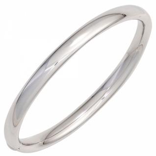 Armreif 925 Sterling Silber rhodiniert oval Kastenschloss