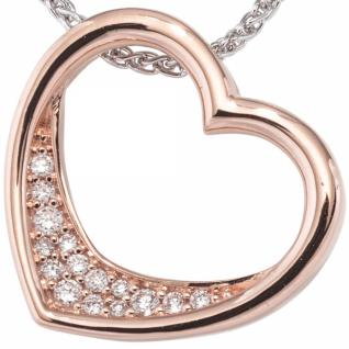 Anhänger Herz 585 Gold Rotgold 15 Diamanten Brillanten 0, 08ct.