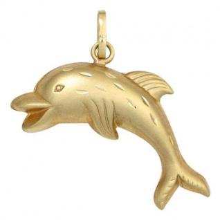 Kinder Anhänger Delfin 333 Gold Gelbgold matt mattiert Kinderanhänger