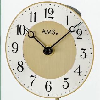 AMS 1143 Tischuhr Quarz mit Pendel Metallgehäuse messingfarben - Vorschau 2