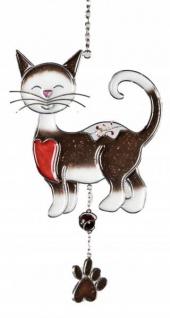 Tiffany Fensterdeko Dekoanhänger Katze dunkelbraun 15x25 cm