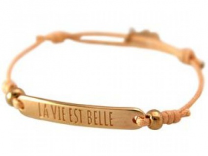 Damen Armband Gravur LA VIE EST BELLE Rose Vergoldet Hellkoralle Rose