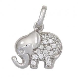 Kinder Anhänger Elefant 925 Sterling Silber mit Zirkonia Kinderanhänger