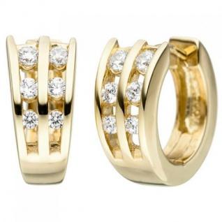 Creolen 925 Sterling Silber Gelbgold vergoldet 12 Zirkonia Ohrringe