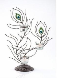 Teelichthalter Passion aus Metall und Glas Schwarz, dreiflammig, 41 cm