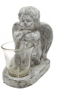 Schutz-Engel Windlicht-Engel sitzend Grabschmuck Grabdeko liebevolle Grab-Engel-Figur Skulptur Grablicht wetterfest antik weiß 13x19x22cm