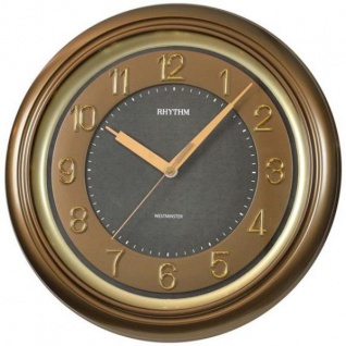 Rhythm 7802/3 Wanduhr Quarz golden braun leise Westminster Melodie
