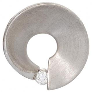 Anhänger 585 Gold Weißgold matt 1 Diamant Brillant 0, 07 ct.