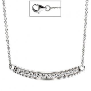 Collier Halskette 925 Sterling Silber mit Zirkonia 45 cm Silberkette