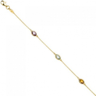Armband 585 Gelbgold 2 Amethyste 1 Citrin 1 Blautopas Goldarmband
