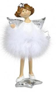 Weihnachts-Deko-Figur Engel mit Plüsch-Federn und Stern Schutzengel Weihnachtsengel Kunststein weiss silber 20cm groß Winter-Engel