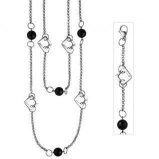 Collier Halskette 2-reihig aus Edelstahl mit schwarzem Achat 55 cm