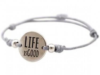 Gemshine Damen Armband Gravur LIFE IS GOOD Silber Hellgrau