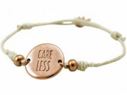 Gemshine Damen Armband Gravur CARE LESS Rose Vergoldet Nude