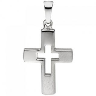 Anhänger Kreuz 925 Sterling Silber teil matt Kreuzanhänger Silberkreuz - Vorschau