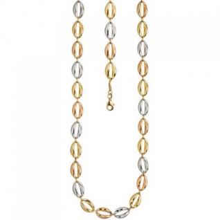 Halskette Kette 585 Gold dreifarbig tricolor 45 cm Goldkette Karabiner
