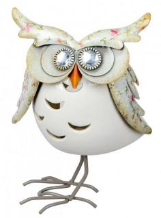 Windlicht-Eule Kerzenhalter Eulen-Deko Teelichthalter owl Blilliant-Augen Metall Porzellan weiß 20cm