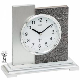 AMS 5150 Tischuhr Funk silbern modern in Naturstein-Optik mit Alu