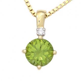 Anhänger rund 585 Gold Gelbgold 1 Peridot grün 1 Diamant Brillant